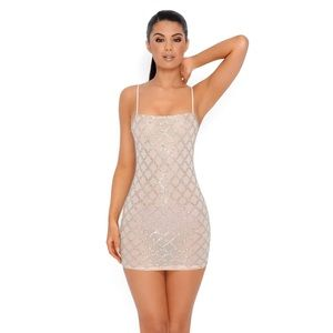 Oh Polly Nude Sequin Mini Dress